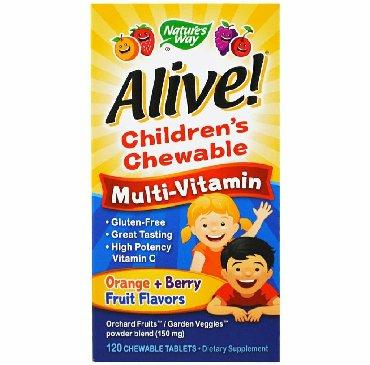 витамины с магнием в Кыргызстан: Nature's Way, Alive! Детский жевательный мультивитамин, вкус апельсина