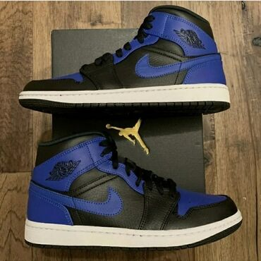 NEW Nike Air Jordan 1 Mid 'Hyper Royal' Black Men's Sizes из Америки