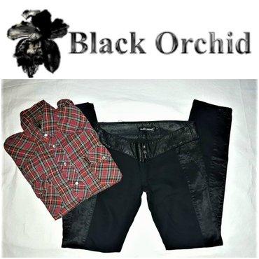 Crne pantalone sa dzepovima - Srbija: *** black orchid *** crne sa eko kozom 29pantalone brenda black orchid