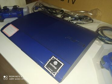 SONY playstation 3 super slim blue 500GB, 2 göy pult, yaddaşinda 40-60