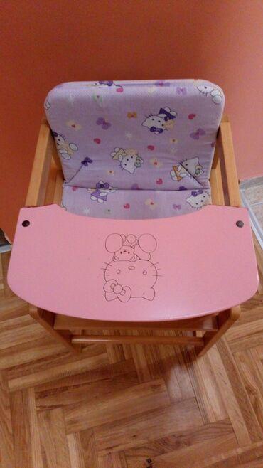 Stolica za hranjenje - Srbija: Drvena stolica za hranjenje, set 2u1, stolica i stolić