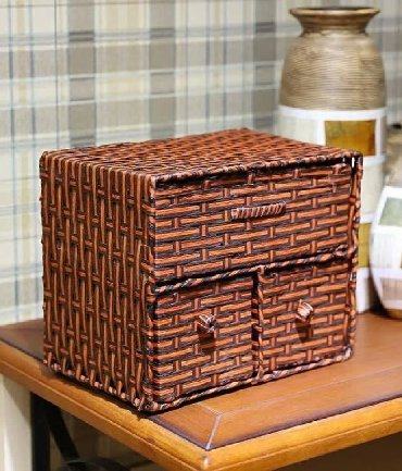 деревянные игрушки ручной работы в Кыргызстан: Изящный плетеный бамбуковый #МИНИ_КОМОД (комодик) ручной работы с мета