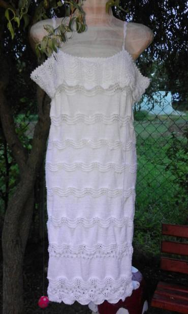 Pletena haljina od elasticnog konca bele boje rucni rad  nova - Vrnjacka Banja - slika 2