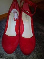 Nove crvene zenske cipele br. 38, nisu nosene. Visina platforme 13cm, - Prokuplje