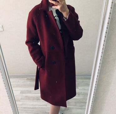 Бардовое пальто размер 44-46