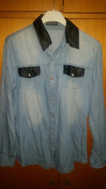 Teksas košulja sa crnim detaljima,rukavi mogu da se podvrnu i budu - Pancevo
