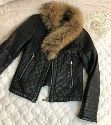 jubka na vysokoj posadke в Кыргызстан: Куртка эко кожа фирмы Zara Trafaluc,воротник из лисы,мех съёмныйв