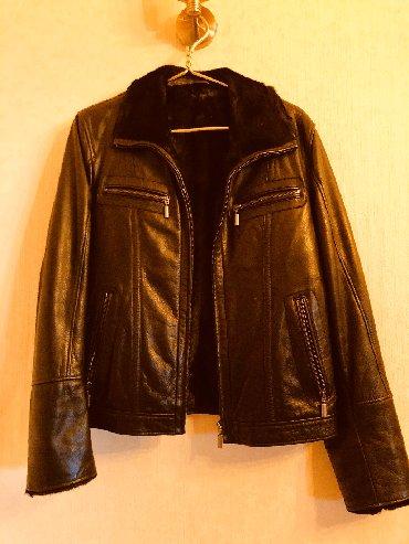 Куртка кожаная с натуральном мехом почти новая