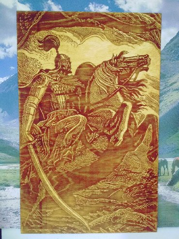 """аукцион картин в Кыргызстан: Выжигание по дереву """"Манас баатыр"""".Ищите особенный подарок? Вот"""