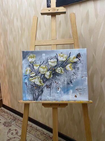 букеты ручной работы в Кыргызстан: Картина ручной работыБукет тюльпанов На выбор с рамкой или без