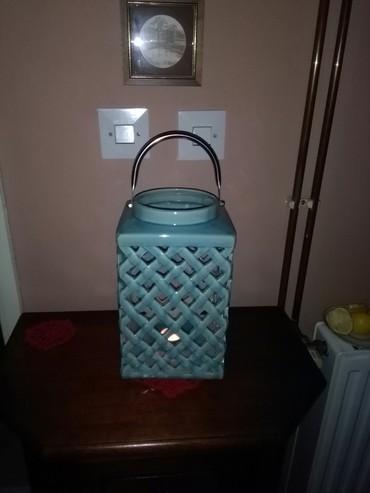 Veliki fenjer od keramike,tirkiz boja,za toplinu vadek doma - Sombor