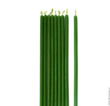 Свечи зелёные, восковые, часовые   18 см см в Лебединовка