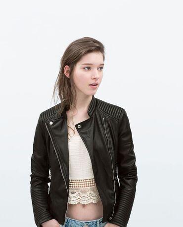 """женская-новая-куртка в Азербайджан: Godekce """"Zara Trafaluc Leather Jacket""""90 манат. Кожаная женская куртка"""