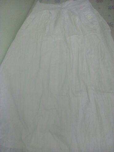 Юбка белая трапеция на пуговицах ХБ с карманами кара-балта 650