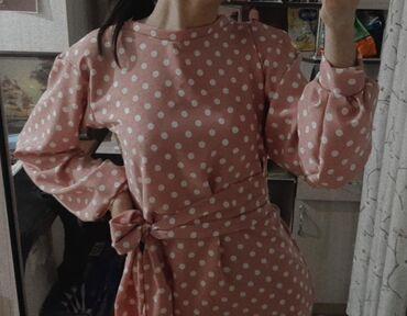 платья длинные на лето в Кыргызстан: Платье розовое в горошик,длина ниже колен. Можно надеть на той. Размер
