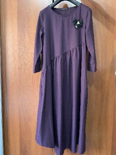 живопись маслом цветы в Кыргызстан: Платье женское длинное, цвет баклажановый, размер L, Турция (состояние