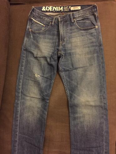 H&m boys blue jeans with decoration in back pockets. Size 13-14
