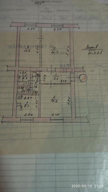 umyvalnik i unitaz в Кыргызстан: Продается квартира: 3 комнаты, 68 кв. м