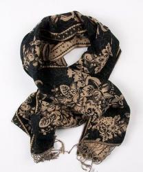 турецкие палантины в Кыргызстан: Лёгкий палантин шарф на шею и голову с узорами,новый, размер 180 см х