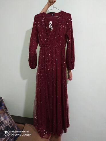 Платье новое 44-46рр,бордовое,на запах,с разрезом. Фабричный Китай