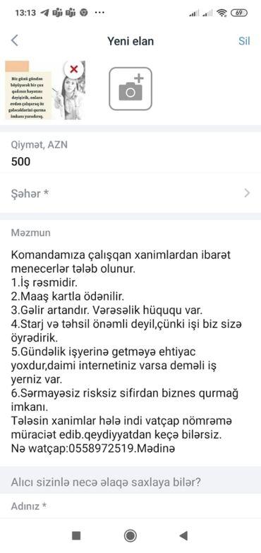 Tikiş - Neftçala: Yalnız xanımlar yaza bilər. İş rəsmidir. Artan gəlir var. Evdən idarə