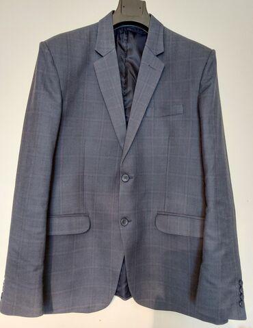 Пиджак новый р. 46-48-50темно-серый, тонкая шерсть, скрытая клетка