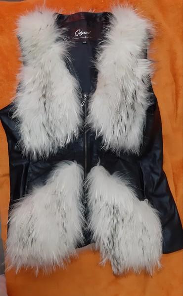 Личные вещи - Орловка: Кожаная жилетка с натуральным мехом, размер 44-46