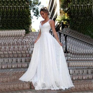 Стильное кружевное свадебное платье в Бишкек