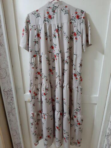 летнее платье свободного кроя в Кыргызстан: Новое Летнее платье свободного кроя с цветочным принтом, цвет серый