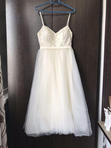 размера л в Кыргызстан: Свадебное платье, размер 42, цвет айвори, французская длина, съёмный