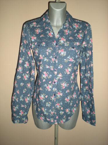 TERRANOVA KOŠULJA  Teget strukirana košulja, sa cvetnim dezenom. Rukav