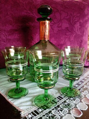 Čaše za piće - Srbija: Komplet nov za vino. jako star komplet. Flasa vis. 25cm. Case