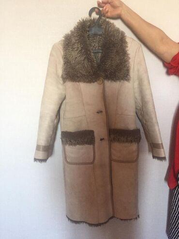 Куртки - Бежевый - Бишкек: Дублёнка женская Зимняя 44 размер