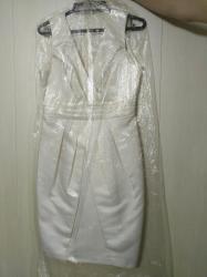 платье футляр с воротником в Кыргызстан: Новое атласное платье футляр цвета айвори. Размер 44
