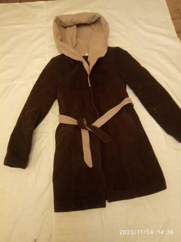 Пальто зимнее б/у размер 44 46 с капюшоном цена 300с
