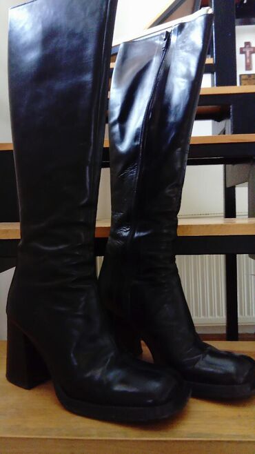 Ženska obuća | Kragujevac: Skupocene italijanske visoke cizme prava koza broj 37