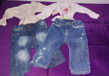 Farmerice i bluze za bebe, velicina 74 - 80 farmerice i bluzice iz