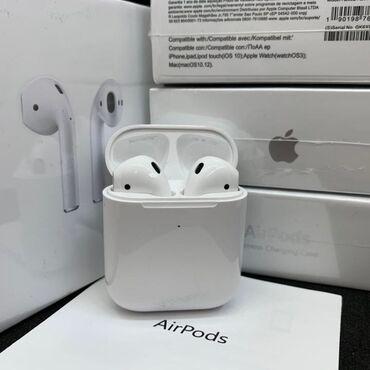 vakansii apple в Кыргызстан: Airpods 2.0 premium white (apple) bluetooth наушник lux  пробивается