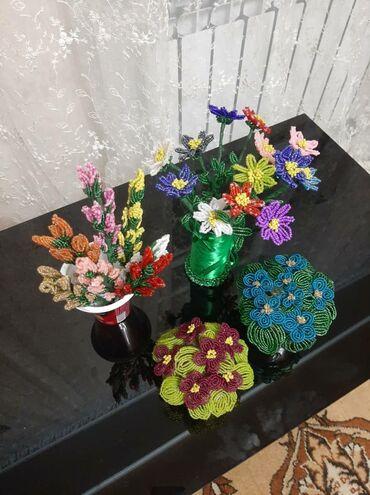 черное платье вышитое бисером в Кыргызстан: Продаю цветы из бисера
