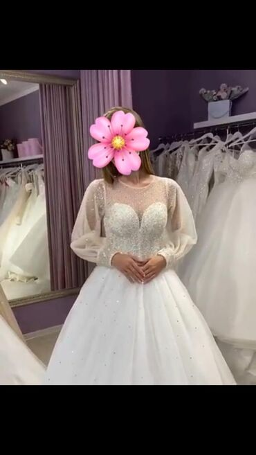 размер 44 платья в Кыргызстан: Продаю свадебное платье, надевалось один раз. Размер подойдет на M-L