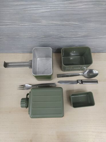 Охота и рыбалка - Кыргызстан: Походный набор; Ковш, чашка, стакан, фляжка, вилка, нож, ложка