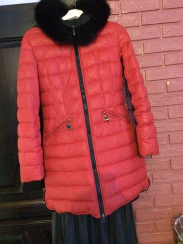 женский пуховик с капюшоном в Кыргызстан: Пуховик за 2000сом.красный,сзади черный.пух 100%,размер с-м.состояние4