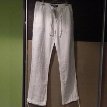 Muška odeća | Cuprija: H&M, muške bele lanene pantalone, vel.EUR 30, kupljene u Austriji