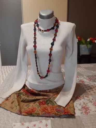 Boja bele kafe - Srbija: Haljina od trikotaže i štofa boja bele kafe donji deo haljine