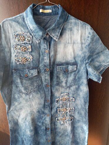 Джинсовое платье рубашка можно как туника ткань хб очень тонкая. Новая