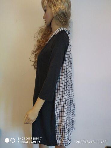 Платье комбинированное 48-50 размера со съёмным воротником.Платье