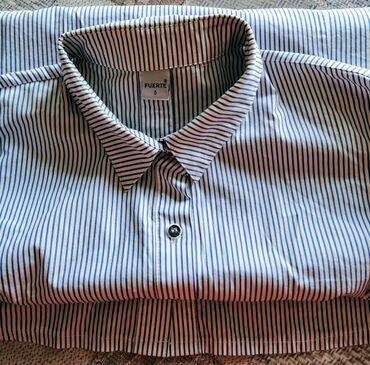 """женские вельветовые юбки в Азербайджан: Рубашка женская """"Fuerte"""", белая в синюю полоску, б/у, носилась очень"""