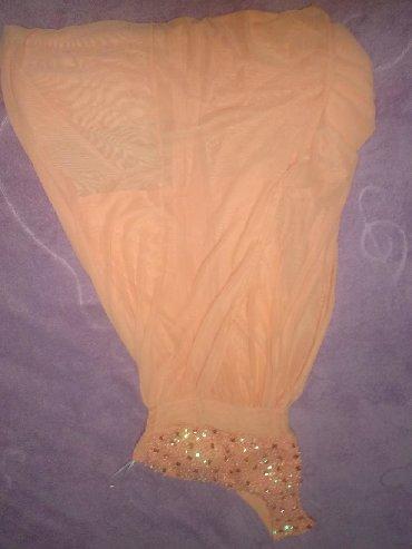 персиковое платье в пол в Кыргызстан: Продам новое платье персикового цвета. Двойное, в пол, с короткой