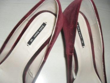 ZARA pliš 39 OBUVENE JEDNOM!izuzetne cipele bordo boje sa prelepom