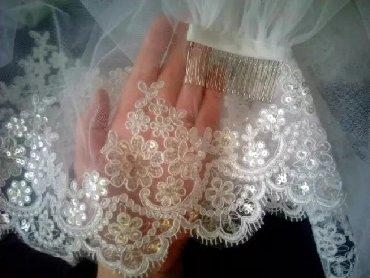 kanzas aksesuarlari - Azərbaycan: Yenidir. Sifariwle tikilib. Фата новая, не одевалась. Шилась на заказ